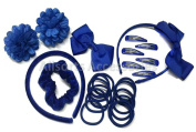 24 Piece Royal Blue Hair School Set Kids School Hair Bobbles Clips Scrunchie