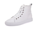 Korean version of casual sports shoes high shoes white shoes leather
