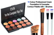 18pc Contour Cream Concealer & Foundation Palette & 3 Brushes, for skin prone to redness, freckles, marks or dark spots