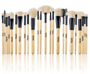 Studio Quality Jet-Set Bamboo 24 Piece Premium Synthetic Cosmetic Makeup Brush Brushes Set Kit with Pouch Case Bag