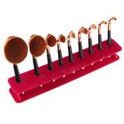 GAXUVI 9 Hole Microscler Makeup Brush Holder Drying Rack Organiser Cosmetic Shelf Tool