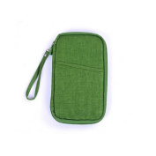 Chuangli Multifunction Travel Wallet Document Passport Storage Bags Card Purse Holder With Zipped Closure Green