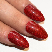 Bling Art Stiletto False Nails Gel Fake Red Gel Glitter Glossy Medium Tips UK
