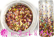 1 Jar Multi Glitzzzer #/118 Tiny Squares Brown/Gold Mix