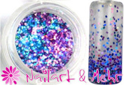 1 Jar Multi Glitzzzer MG # 115 Tiny Squares - Blue/Pink Mix