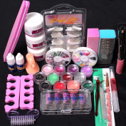 Kolylong® Pro Nail art tools 24 in 1 Acrylic Nail Art Tips Liquid Buffer Glitter Deco Tools Full Kit Set