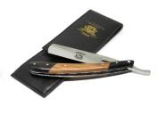 BeautyTrack® Pure Wood Handmade Straight Wet Shaving Cut throat Razor Shavette Barber Razors + leather strop - vintage shaving kit for men - Superb Gift ideas