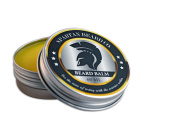 Spartan Beard Balm (60 ml) - Men's Leave-In Conditioner Reduces Frizz, Curliness and Split Ends - Softens Whiskers and Moisturises Dry Skin - Cedarwood, Fir, Beeswax and Sweet Almond Oil