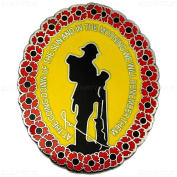 New Large 4.1cm Lone Soldier and Red Poppy Flower Wreath Lapel Pin Badge Remember Them UK SELLER