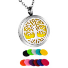 HooAMI Stainless Steel Tree of Life Aromatherapy Essential Oil Diffuser Necklace Pendant Locket with 11 Refill Pads 60cm Chain