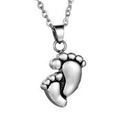 HooAMI Cremation Jewellery Stainless Steel Baby Feet Shape Ash Holder Pendant Urn Necklace Memorial Keepsake