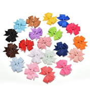 CoscosX 20pcs Hair Bows Girls Alligator Clip Grosgrain Ribbon Headband