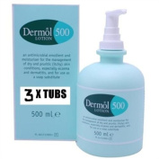 QTY 3 x DERMOL 500 EMOLLIENT MOISTURISER LOTION X 500ML WITH PUMP ACTION