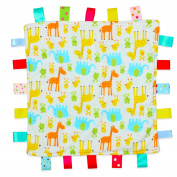 For the Love of Leisure - White with Giraffe and Elephant Baby Tag Blanket with Plain Yellow Textured Underside - Comforter, Security, Tag Blanket