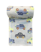 Baby Fleece 75x100cm Pram/Moses Blanket - Blue Cars