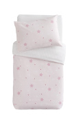 PMP Printed Bedding Set Duvet Cover and Pillowcase Stars Design 100 x 140 cm Pink