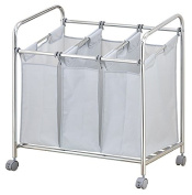 Vivo © 3 Bags/Sections Heavy Duty Laundry Sorter Trolley Bathroom Compartments Sort Dirty Linen