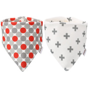 Itaar Baby Bandana Drool Bibs with Snaps for Boys & Girls   Stylish Design For Drooling Teething Babies   2 Pack Unisex Soft Cotton Baby Gift Set