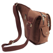 KAUKKO Mens Retro Canvas Shoulder Military Messenger Bag Leather Style School Bags Coffee