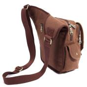 KAUKKO Mens Retro Canvas Shoulder Military Messenger Bag Leather Style School Bags Coffee