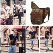 KAUKKO Boys Vintage Canvas Men' Chest Messenger Bag with Genuine Leather for Outdoor Travel Khaki
