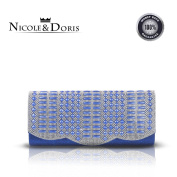Nicole & Doris 2016 Navy Blue Clutch Bag, Envelope Style Large Rectangle Shoulder Bag, Handy Sewn Rhinestone Evening Purse with Detachable Chain, Dazzling Ladies Handbags for Paty, Dating
