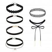 Mudder 6 Pieces Black Velvet Stretch Tattoo Choker Elastic Tassel Necklaces