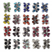 RUBYCA 20Pcs Silver Colour Tibetan Charm Beads Crystals Rhinestones fit European Charm Bracelet Mix Colour