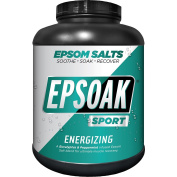 Epsoak SPORT Epsom Salt for Athletes - 3.9kg Canister - energising. All-natural, therapeutic soak with Eucalyptus and Peppermint Essential Oil