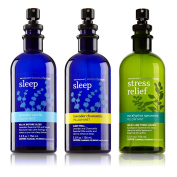 3pc SET - Bath & Body Works Aromatherapy Pillow Mist Collection - Eucalyptus Spearmint, Lavender Chamomile & Lavender Vanilla