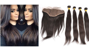 ziyi queen 13x 6 Ear To Ear Full Frontal Lace Closure With Human Hair Weave Brazilian Straight Virgin Hair Extensons 3 Bundles With Front Closures - 24 26 28 30 +50cm