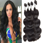 Lemoda Hair Malaysian Virgin Hair Body Wave Hair bundles 7A Grade Black Virgin Colour Hair Extension Weave Human Hair 4 Bundles (100+/-5g)/bundle 24 24 24 60cm