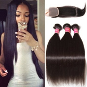 Nadula Brazilian Straight Hair Extensions Pack of 3 with Lace Closure Free Part Grade 6a Unprocessed Remy Virgin Human Hair Natural Colour