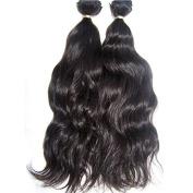 """Foxys' Hair 100% 2 Bundles Brazilian Natural Wave Virgin Human Hair Extensions Natural Hair Bundles Deals Natural Colour 16""""16"""""""