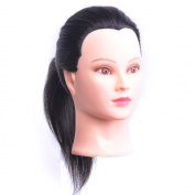 100% Human Hair 46cm Hairdresser Training Head Manikin Cosmetology Mannequin Doll (Table Clamp Holder Included) HA0212P