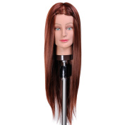 60cm Hairdresser Training Head Manikin Cosmetology Mannequin Doll Synthetic Fibre Hair (Table Clamp Holder Included) SC3318S