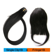 BEAUTY PLUS Clip on Bangs Real Human Hairpieces for Women One Single Clip For Free