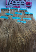 USA 10 pieces Remy Human Hair Chestnut Brown Tape in hair extensions 25g Highlight Streaks