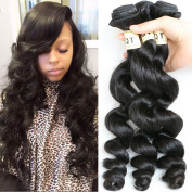Top Quality 3 Bundles Brazilian Virgin Loose Wave, Natural Colour Raw Unprocessed 100% Brazilian Virgin Remy Human Hair Weave Weft Natural Colour Extensions Mixed Size