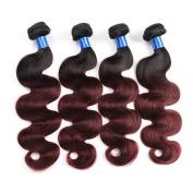 "Gluna Hair 8A T1b/99j Ombre Brazilian Virgin Hair Body Wave 4Pcs TwoTone Ombre Human Hair Extensions28""30""30""30"""