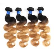"""Gluna Hair 8A Ombre Brazilian Virgin Hair 4Pcs T1b/27 Body Wave Hair Ombre Brazilian Hair Weave Bundles28""""30""""30""""30"""""""