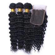 Fashion A Plus Brazilian Deep Wave Curly Hair 4 bundles Human Hair Extensions Black Colour 7A Grade