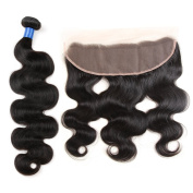 Gluna Hair 13×4 Ear To Ear Lace Frontal Closure With Bundles 3Pcs Brazilian Virgin Hair Body Wave With Closure22 24 24+18