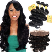Black Rose Hair Unprocessed Virgin Hair Peruvian Body Wave 3 Bundles With Lace Frontal Closure(13x 4) Hair Extensions Hair Weave Bundles Natural Colour