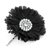 Bling Online Flower Slide Hair Grip With Pearl And Crystal Detail 6Cm Black