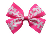 "NEW ""BREAST CANCER Clippie"" Ribbon Hair Bow Alligator Clip 7.6cm Girls Cheerleading Practise Games School Uniform Hairbow Awareness"