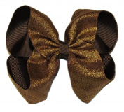 "New ""SHIMMERY BROWN"" Sparkly Hairbow Alligator Clips Girls Ribbon Bows 13cm Boutique Holiday Christmas Party Thanksgiving Day Fall"