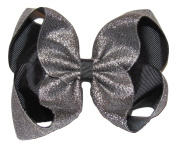 "New ""SHIMMERY SILVER/BLACK"" Sparkly Hairbow Alligator Clips Girls Ribbon Bows 13cm Boutique Holiday Christmas Party New Years Birthday"