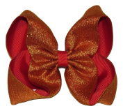 "New ""SHIMMERY GOLD/RED"" Sparkly Hairbow Alligator Clips Girls Ribbon Bows 13cm Boutique Holiday Christmas Party New Years Birthday"