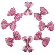 Yiho 8pcs Three layer Baby Girls Clips Pink Dot Hair Bows Hair Accessories